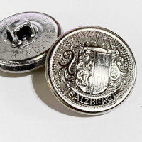 "29612 Bright Silver Salzburg Crest Button, 3/4"" Front Size Only"