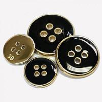 300116 Gold with Black Epoxy Blazer Button - 3 Sizes