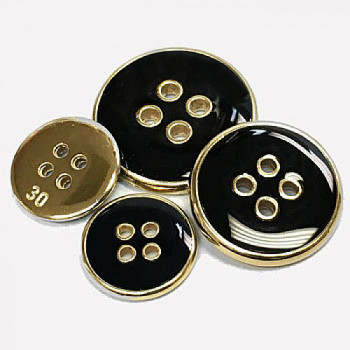300116 Gold with Black Epoxy Blazer Button - 3 Sizes