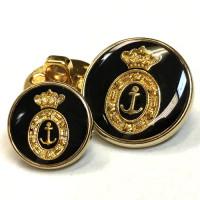 340076 Gold with Black Epoxy Blazer Button - 2 Sizes