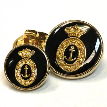 340076 Gold with Black Epoxy Blazer Button - 2 Sizes