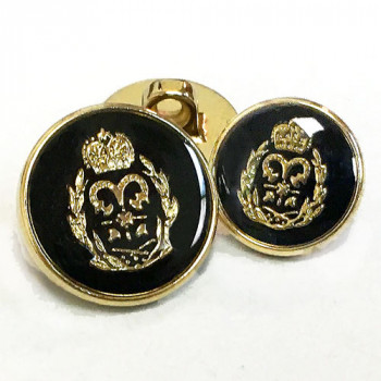 340247 Gold with Black Epoxy Blazer Button - 2 Sizes