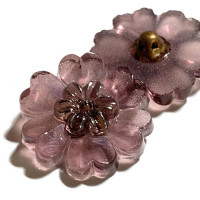 G-4015-4   Vintage Wisteria Flower-Shaped Glass Button, 7/8""