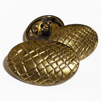 420099 - Oval Metal Fashion Button in Matte Antique Gold - 2 Sizes