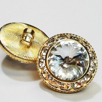 7103A - 7/8 inch, Gold and Swarovski Crystal Rhinestone Button