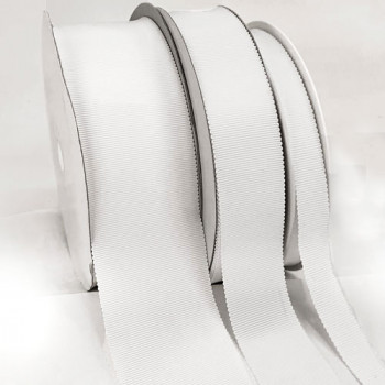 8000  Col. 1 White Petersham Grosgrain Ribbon, 10 Sizes - Sold by the Yard
