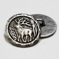 90682 - Antique Silver Metal Elk with Antlers Button, 5/8""