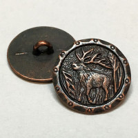 90685 - Antique Copper Metal Elk with Antlers Button, 13/16""