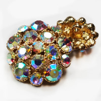 9183-Crystal AB Rhinestone Button, 4 Sizes - 2 Base Colors