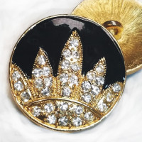 9516 Gold and Black Epoxy Rhinestone Button
