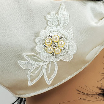 AFM-205 Ivory Satin-Look Protective Face Mask with Rhinestone and Embroidery Applique — Sold per piece or in Packs of 5