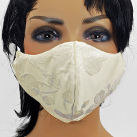 AFM-210 Off-White Satin-Look Embroidered Protective Face Mask — Sold per piece or in Packs of 5