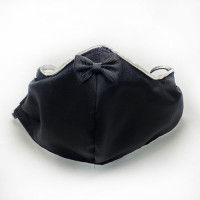 AFM-250 Black Satin Protective Face Mask with Bow Tie Trim— Sold per piece, or in Packs of 5