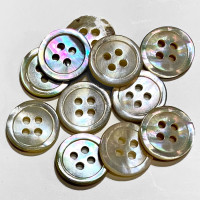 AG-17 Agoya Shell 4-Hole Shirt Button, 11.5mm - Sold by the Dozen