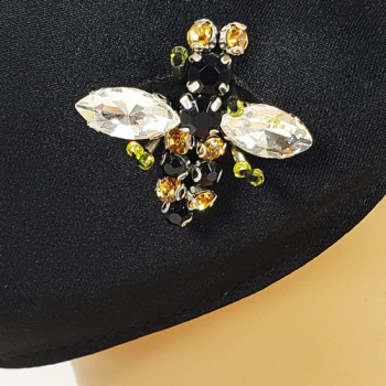 AFM-265 Black Protective Face Mask with Rhinestone Bee Applique — Sold per piece or in Packs of 5