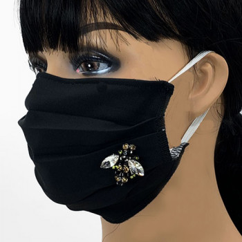 AM-165 Black Protective Face Mask with Rhinestone Bee Applique — Sold per piece or in Packs of 5