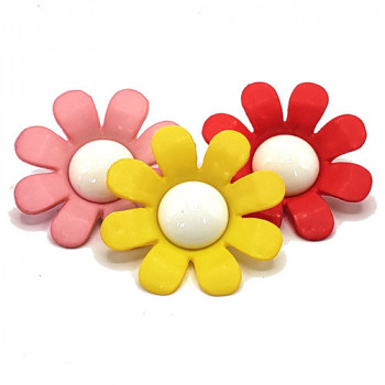 AN-1200 - Large, Flower Petal Button with Shank in 3 Colors - 40mm