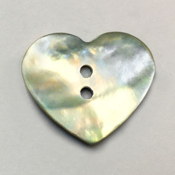 Agoya Shell Heart Button - 8 Sizes
