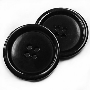 BB-805 Large Black 4-Hole Button, 2 Sizes - Priced by the Dozen (SAVE WHEN BUYING 12 DOZEN OR MORE)