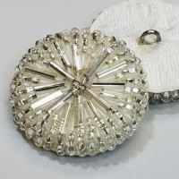 BG-4821 Clear Glass Beaded Button