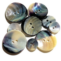 BU-110 Blue Mussel Shell Button - 6 sizes, Sold by the Dozen