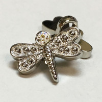 C-0020 - Silver and Crystal Dragonfly Button