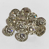 C-0900  Petite Crystal Rhinestone Button, 9mm - Sold per Dozen
