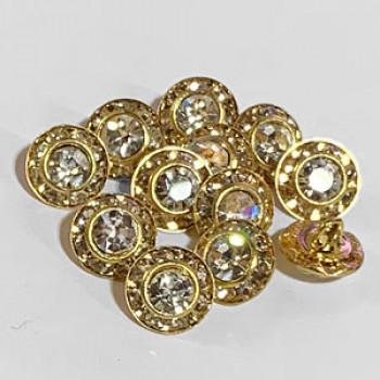 C-0950  Petite Crystal Rhinestone Button, 9mm - Sold per Dozen