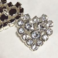 C-1290 Heart-Shaped Crystal Rhinestone Button