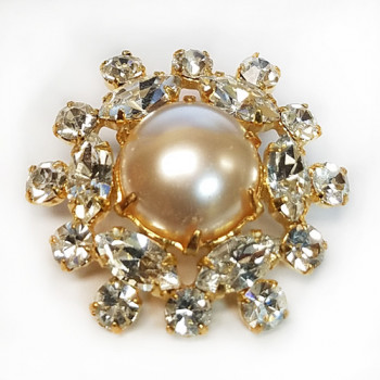 C-1300A Rhinestone Button, Gold And Pearl