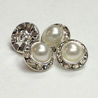 C-1337- Pearl and Crystal Rhinestone Button - 3 Sizes