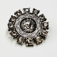 C-1346 - Antique Silver and Smoke Crystal Rhinestone Button