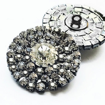 C-8181 - Antique Silver and Crystal Rhinestone Button 1 1/8""