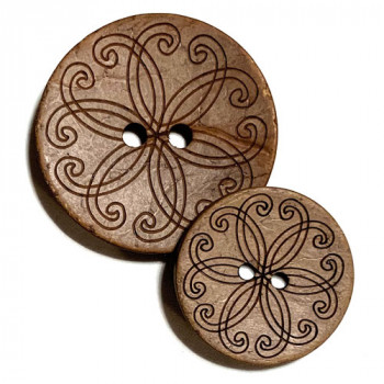 CO-513 Laser Design Coconut Button, 2 Sizes