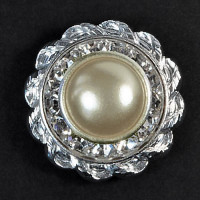 CSP-39 Pearl Crystal Button - Silver Base