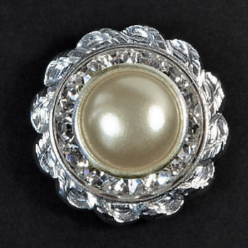 CSP-39 Pearl Crystal Button - Silver Base