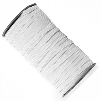 EL-1280 White, 1/4 Inch Braided Elastic — Sold in 12 and 36 yard lengths