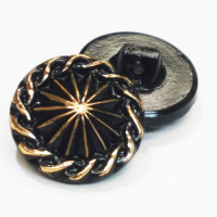 G-0400-Blk. and Gold Vintage Glass Button