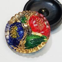 """G-1119 Multicolor Glass Button, 1-1/8"""""""