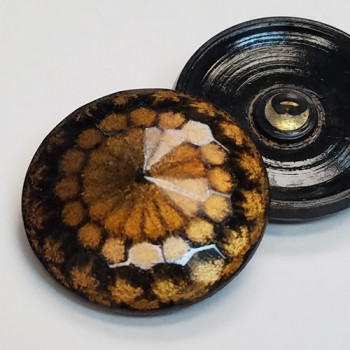 G-1201-Black and Gold Glass Button, 1-1/8""