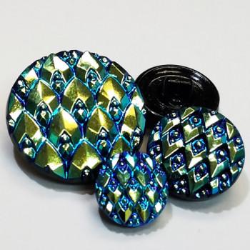 G-1724 Iridescent Czech Glass Button, 4 Sizes
