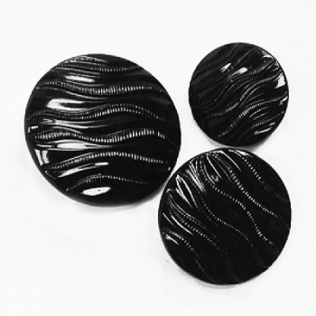 G-5221 Black Glass Button, 3 Sizes