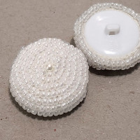 G-580 - Hand Beaded White Pearl Button