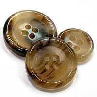 GH-05 Light Brown Genuine Horn Suit Button, 3 Sizes
