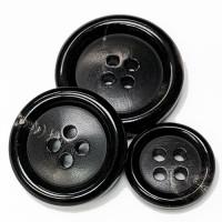 GH-07 Black Genuine Horn Suit Button, 3 Sizes
