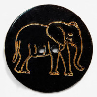"GHW-9001 Genuine Horn, 2"" Carved Elephant Button"