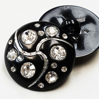 HC-301-Black Button with Crystal Rhinestones