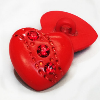 HC-303 - Red Heart Shaped Button, with Red Rhinestones