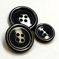 HN-101 Polished Black Suit Button - 4 Sizes