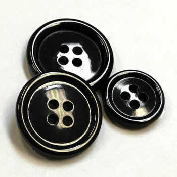 HN-101 Polished Black Suit Button - 4 Sizes